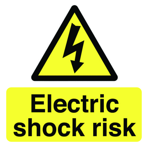 Electric Shock Risk 50x50mm Self Adhesive Vinyl (Pack of 10)