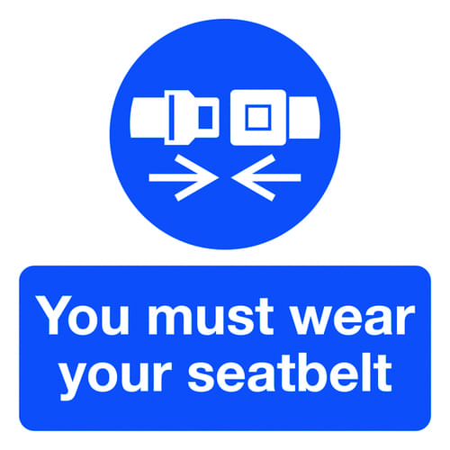 You Must Wear Your Seatbelt 50x50mm Self Adhesive Vinyl (Pack of 10)