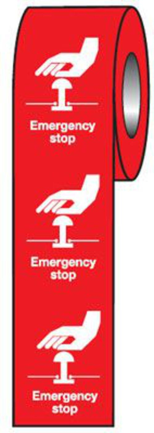 Emergency Stop (Red) Label 75x55mm Self Adhesive Vinyl (Roll of 250)