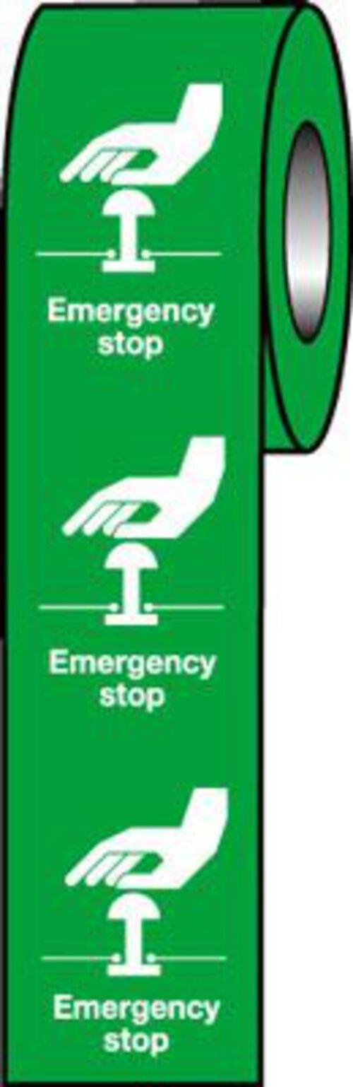 Emergency Stop (Green) Label 75x55mm Self Adhesive Vinyl (Roll of 250)