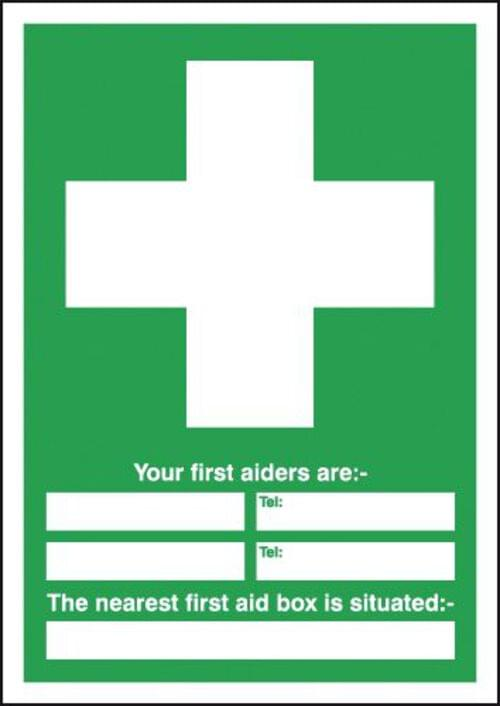 Your First Aiders Are (spaces) Your Nearest First Aid Box Is Situated 297x297mm Self Adhesive Vinyl