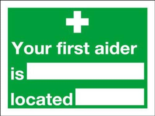 Your First Aider Is Located 150x200mm 1.2mm Rigid Plastic
