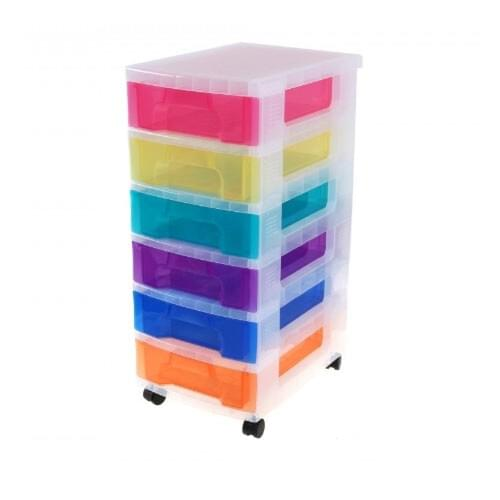 Really Useful Storage Boxes 6 x 7L Clear Tower Rainbow Drawers
