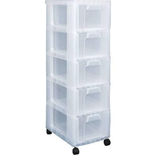 Really Useful Storage Tower 5 x 12L Clear Drawers