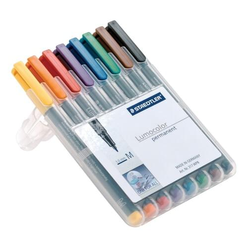 Staedtler Lumocolor Assorted Permanent Pens 0.6mm Line (Pack of 8)