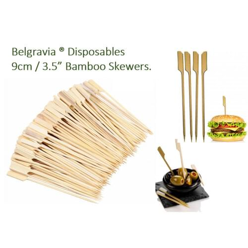 Belgravia Bamboo Paddle Skewers 9cm (Pack of 100)