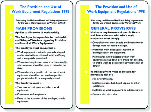 The Provision and Use of Work Equipment Regulations 1998 Pocket Guide 120x80mm Encapsulated Paper