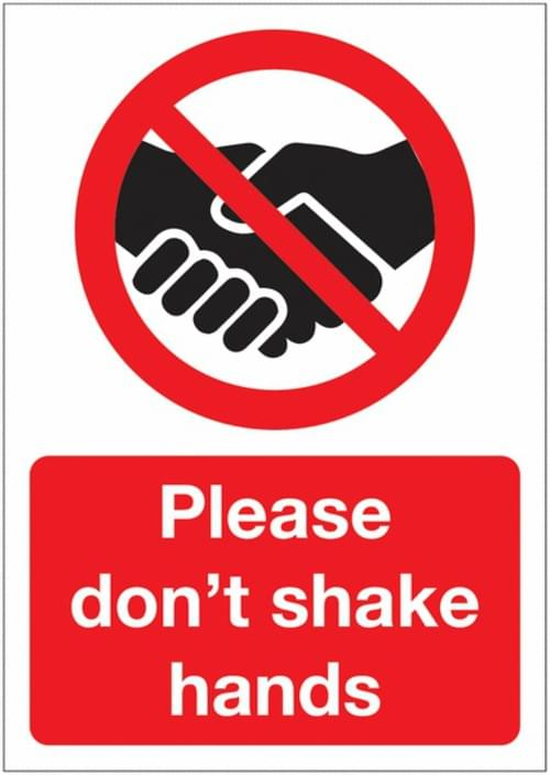 Social Distancing Please Dont Shake Hands A3 Sign Permanent Self Adhesive Vinyl