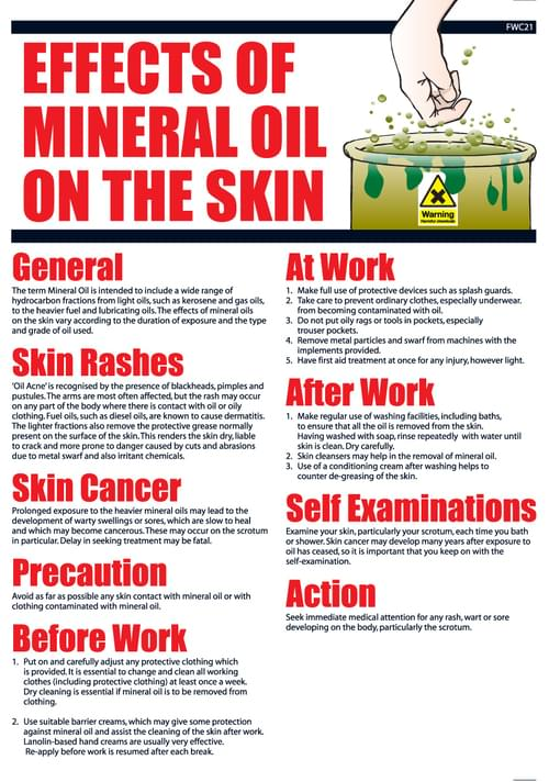 The Effects of Mineral Oil On The Skin Wallchart 435x305mm 0.7mm Rigid Plastic