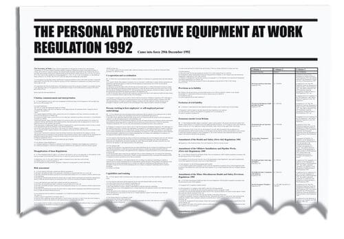 The Personal Protective Equiptment At Work Regulation 1992 Wallchart 840x570mm 0.3mm Rigid Plastic