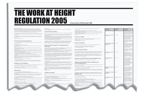 The Work At Height Regulation 2005 Wallchart 840x570mm 0.3mm Rigid Plastic