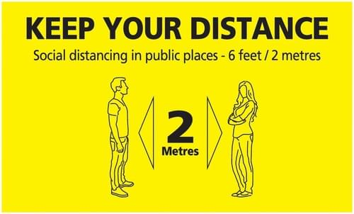 Social Distancing Keep Your Distance In Public Places Floor Sign 300x500mm Self Adhesive Vinyl