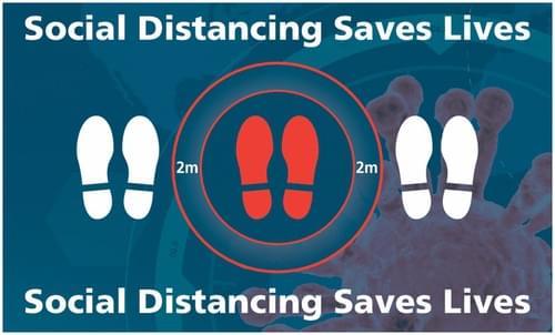 Social Distancing Social Distancing Saves Lives Rectangular Floor Sign 300x500mm Self Adhesive Vinyl