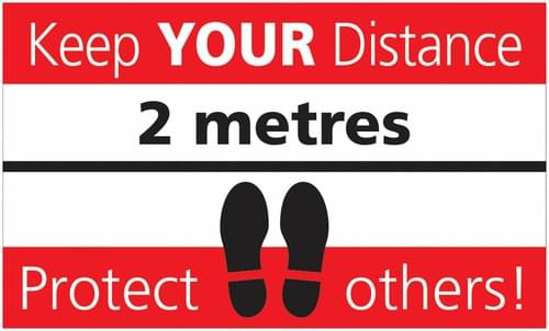 Social Distancing Keep Your Distance, Protect Others Rectangular Floor Sign 300x500mm Self Adhesive Vinyl