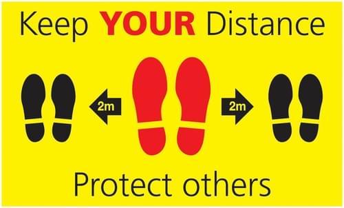 Social Distancing Keep Your Distance Footprint Rectangular Floor Sign 300x500mm Self Adhesive Vinyl