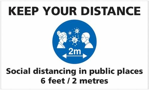 Social Distancing Keep Your Social Distance In Public Places Rectangular Floor Sign 300x500mm Self Adhesive Vinyl