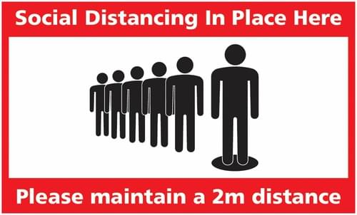 Social Distancing Social Distancing In Place Here Rectangular Floor Sign 300x500mm Self Adhesive Vinyl