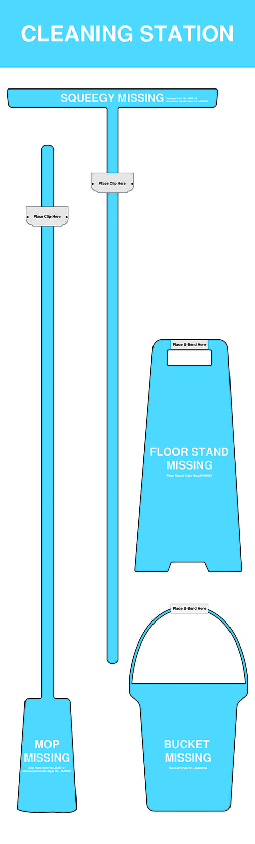 Shadow Board Non Stocked (Mop, Bucket, Squeegee, Floor Stand) 1995x605mm Blue