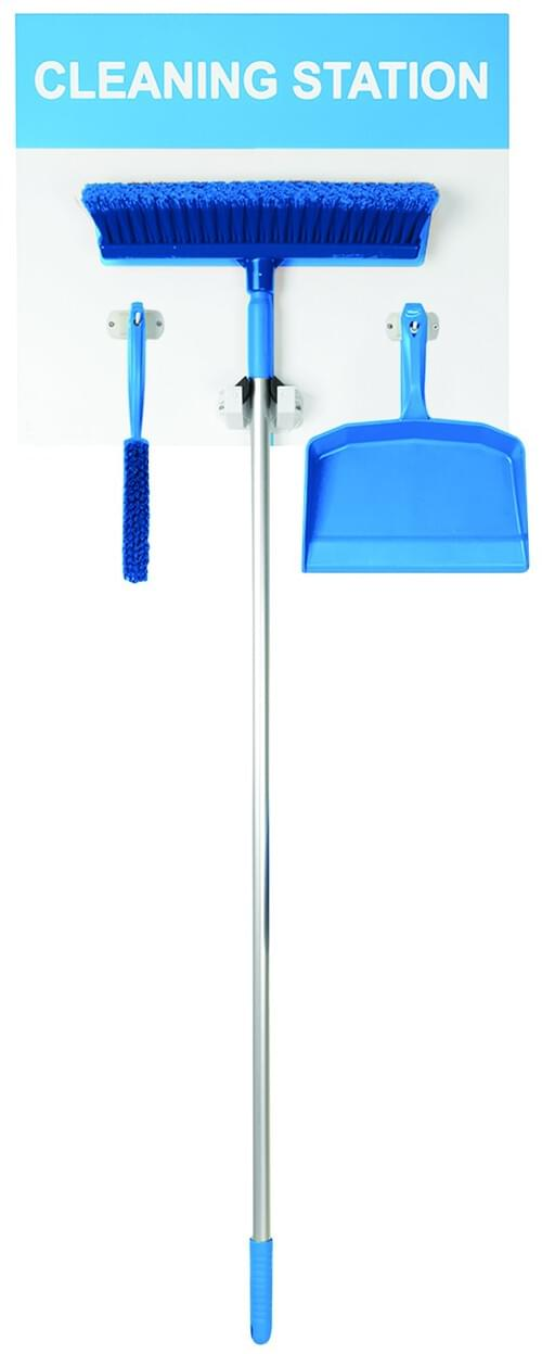 Cleaning Station Shadow Board Stocked (Dustpan, Brush and Broom) 1995x605mm Blue
