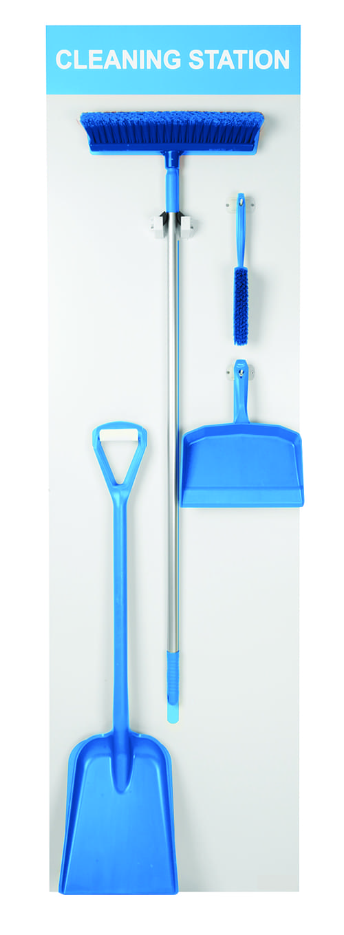 Shadow Board Stocked (Dustpan, Brush, Broom and Shovel) 1995x605mm Blue