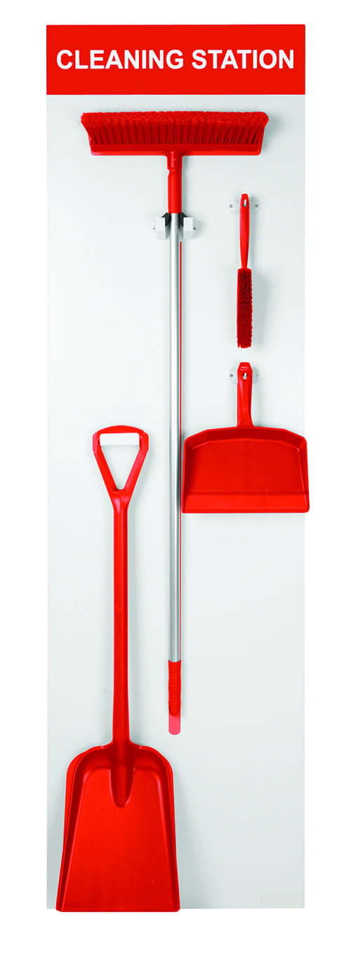 Shadow Board Stocked (Dustpan, Brush, Broom and Shovel) 1995x605mm Red