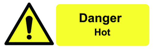 Danger Hot 50x150mm Self Adhesive Vinyl (Pack of 6)