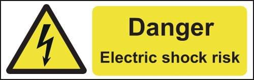 Danger Electric Shock Risk 50x150mm Self Adhesive Vinyl (Pack of 6)