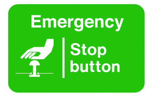 Emergency Stop Button 58x90mm Self Adhesive Vinyl (Pack of 6)