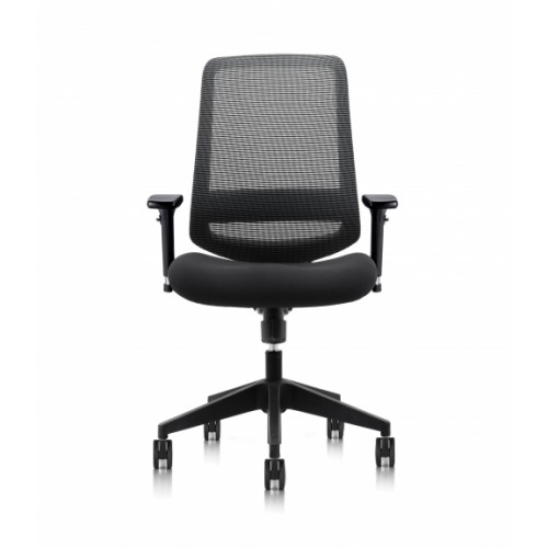 C19 Series Synchronised Mechanism Black Soft Weave Back & Upholstered Seat Chair with Ergonomic Head Rest & 3D Adjustable Arms