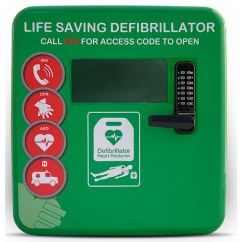 DS-4000 Plastic Defibrillator Cabinet with Keypad Lock, Heater, LED Light Green
