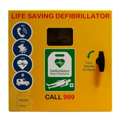 DS-1000 Stainless Steel Defibrillator Cabinet Unlocked, Heater, LED Light Yellow