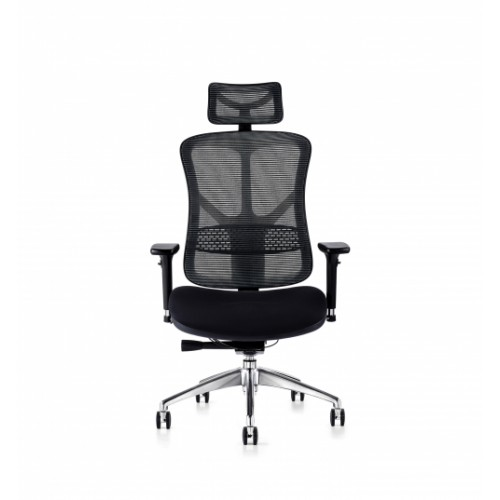 F94 101 Series Ergonomic Synchronised Mechanism Black Soft Weave Back & Upholstered Seat Chair with Ergonomic Head Rest & 3D Adjustable Arms