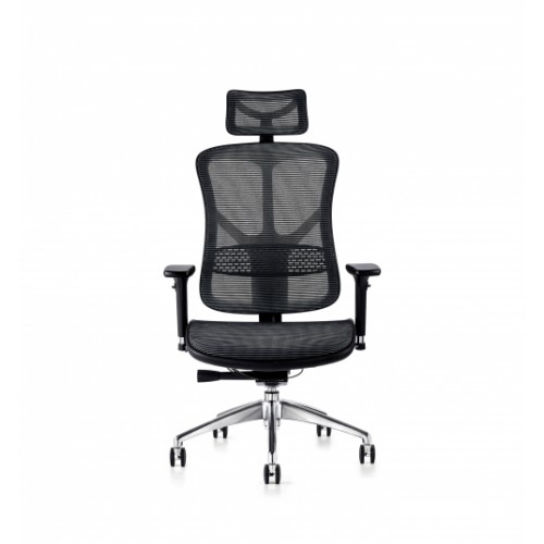 F94 101 Series Ergonomic Synchronised Mechanism Black Soft Weave Back & Seat Chair with Ergonomic Head Rest & 3D Adjustable Arms