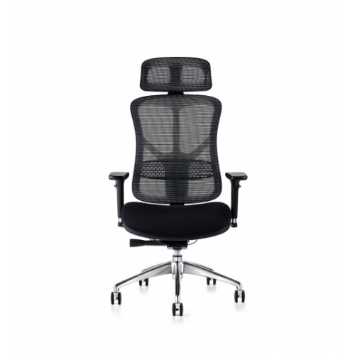 F94 101 Series Ergonomic Synchronised Mechanism Black Soft Weave Back & Upholstered Seat Chair with Executive Head Rest & 3D Adjustable Arms