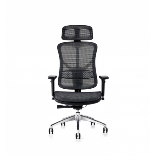 F94 101 Series Ergonomic Synchronised Mechanism Black Soft Weave Back & Seat Chair with Executive Head Rest & 3D Adjustable Arms