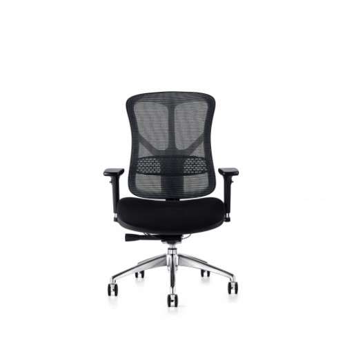 F94 101 Series Ergonomic Synchronised Mechanism Black Soft Weave Back & Upholstered Seat Chair with 3D Adjustable Arms