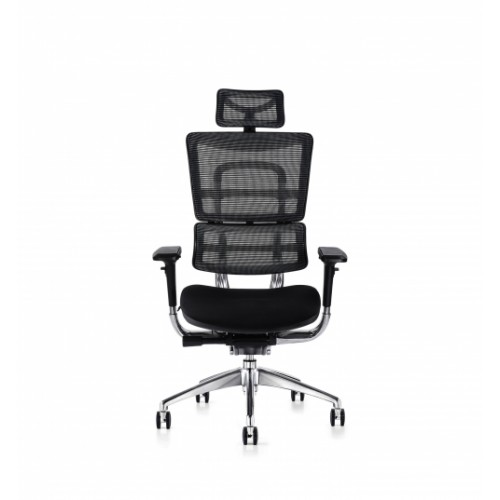 i29 Ergonomic Polished Knee Tilt Mechanism Black Soft Weave Back & Upholstered Seat Chair with Ergonomic Head Rest & 4D Adjustable Arms