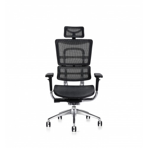 i29 Ergonomic Polished Knee Tilt Mechanism Black Soft Weave Back & Seat Chair with Ergonomic Head Rest & 4D Adjustable Arms