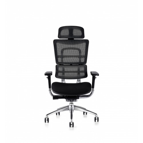 i29 Ergonomic Polished Knee Tilt Mechanism Black Soft Weave Back & Upholstered Seat Chair with Executive Head Rest & 4D Adjustable Arms