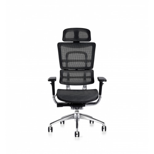i29 Ergonomic Polished Knee Tilt Mechanism Black Soft Weave Back & Seat Chair with Executive Head Rest & 4D Adjustable Arms