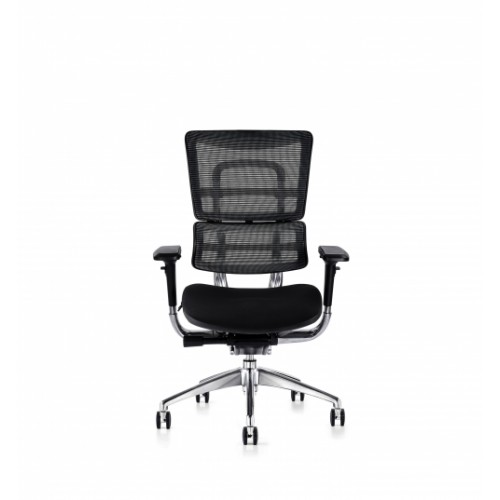 i29 Ergonomic Polished Knee Tilt Mechanism Black Soft Weave Back & Upholstered Seat Chair with 4D Adjustable Arms