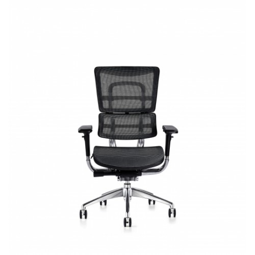 i29 Ergonomic Polished Knee Tilt Mechanism Black Soft Weave Back & Seat Chair with 4D Adjustable Arms
