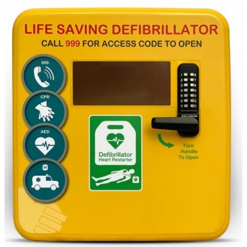 DS-4000 Plastic Defibrillator Cabinet with Keypad Lock, Heater, LED Light Yellow