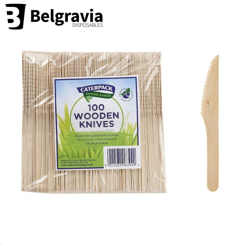 Belgravia Caterpack Wooden Knives (Pack of 100)