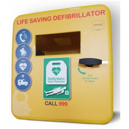 DS-4000 Plastic Defibrillator Cabinet Unlocked, Heater, LED Light Yellow