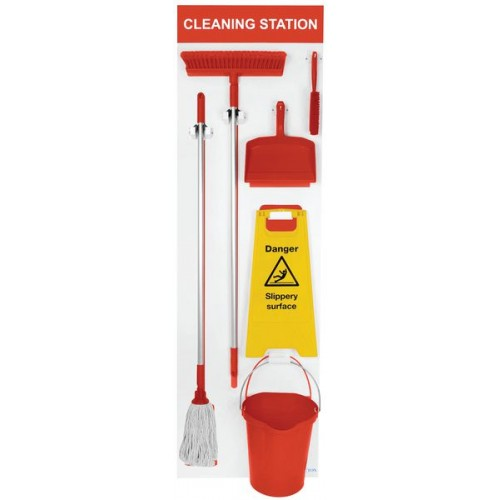 Shadow Board Stocked (Mop, Bucket, Squeegee, Floor Stand, Dustpan and Brush) 1995x605mm Red