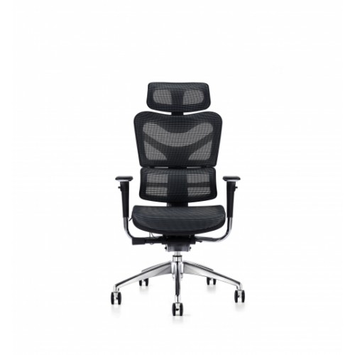 V46 Ergonomic Synchronised Mechanism Black Soft Weave Back & Seat Operators Chair with Executive Headrest & 3D Adjustable Arms