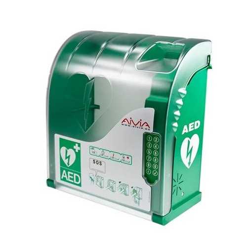 Aivia 210 Defibrillator Wall Cabinet with Alarm, Heating and Keypad Lock