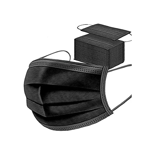 Black Disposable 3 Ply Masks with elasticated ear loops