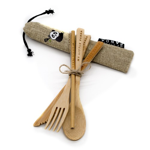 Compact Bamboo Cutlery Set - Desert Sand